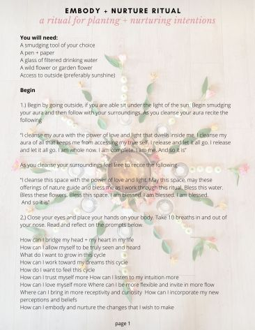 New moon Ritual for planting and nurturing intentions